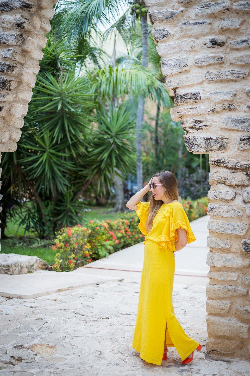 robe longue jaune la redoute à manches volants