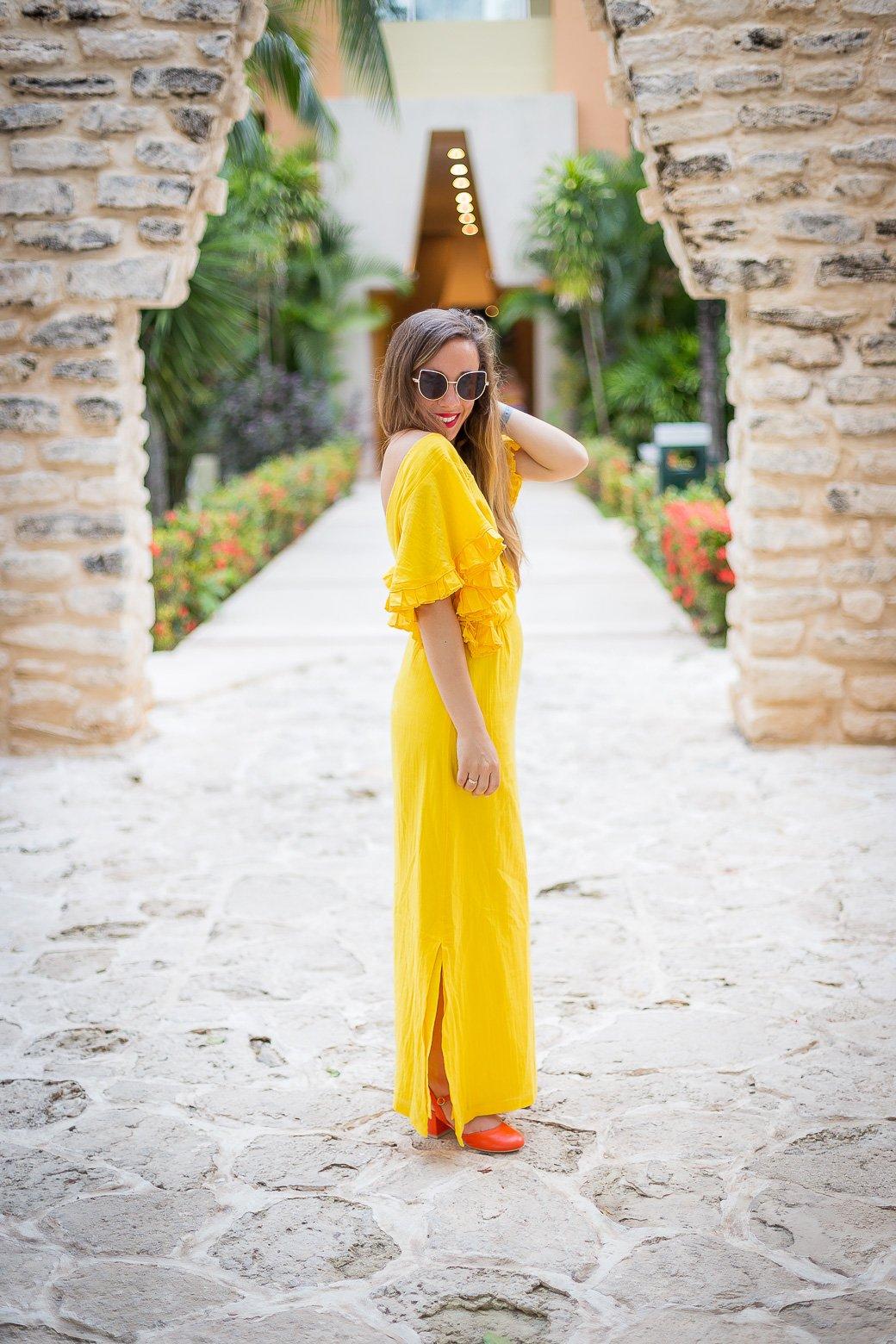 robe jaune longue la redoute