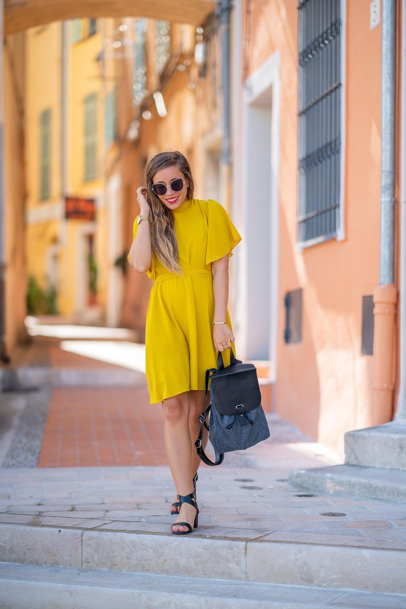 robe jaune manches courtes
