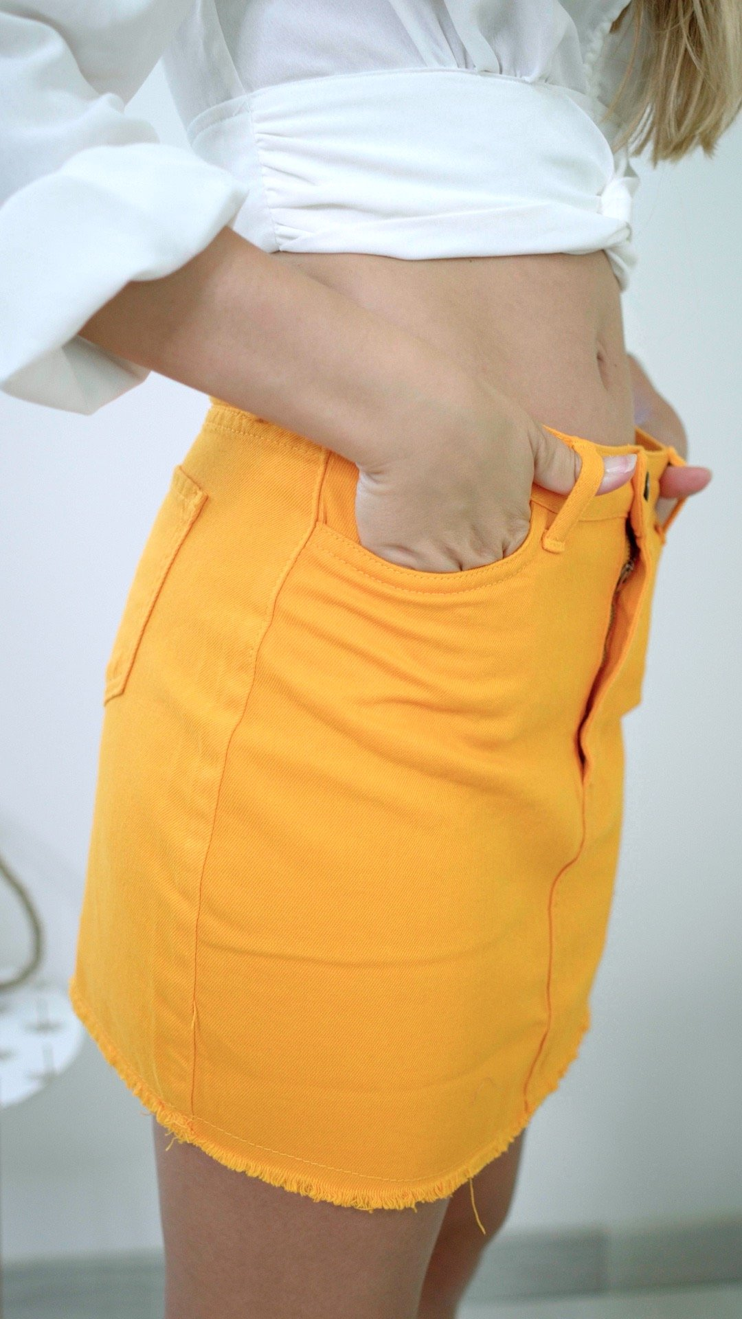 jupe jaune jean mandarine