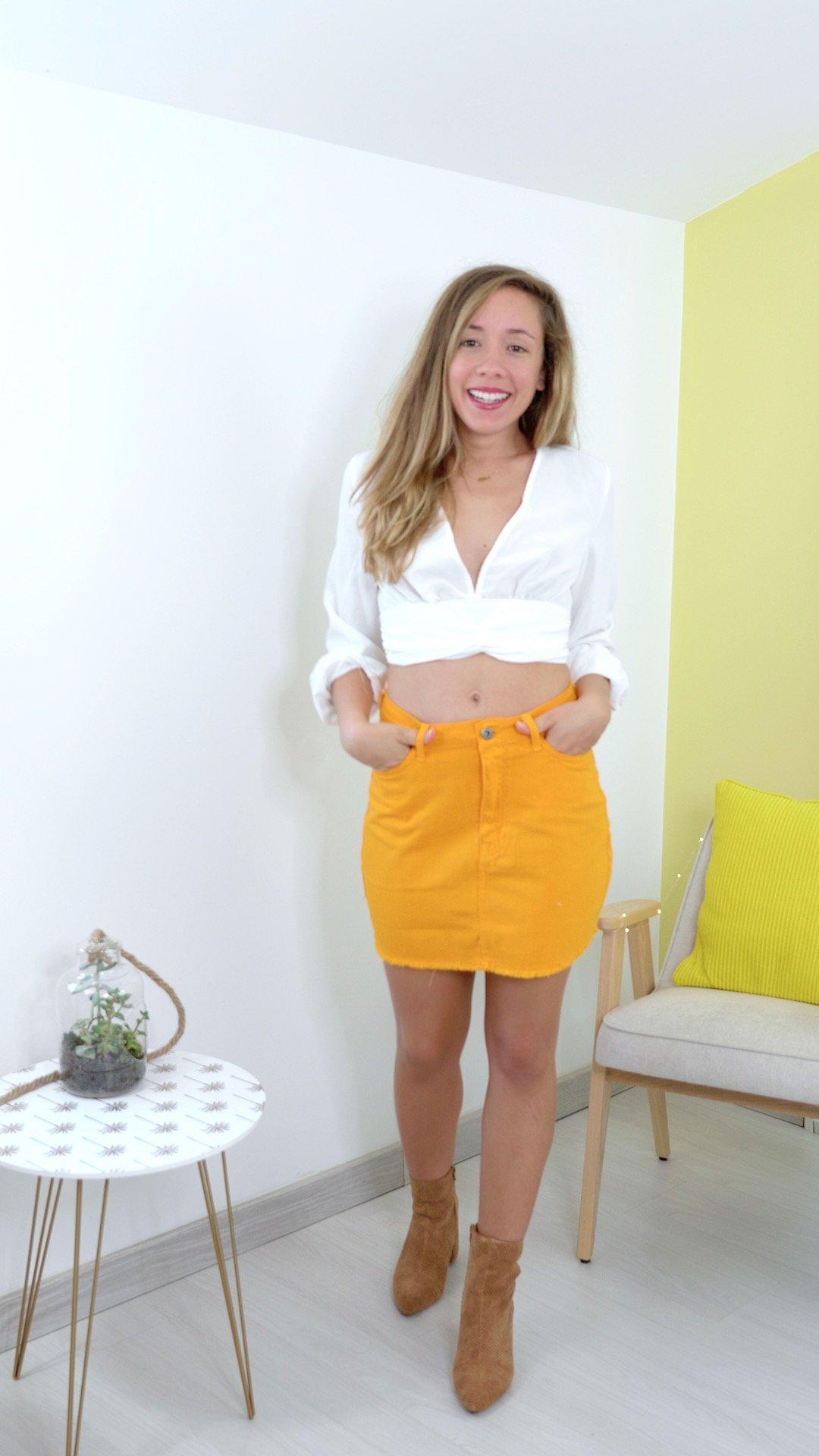 jupe jaune jean top blouse blanc