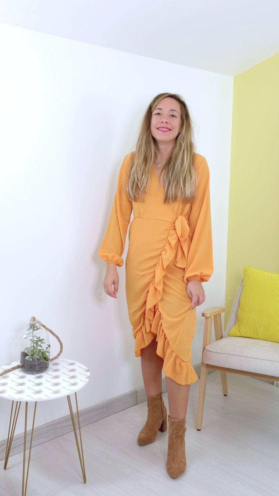 robe jaune volants boohoo