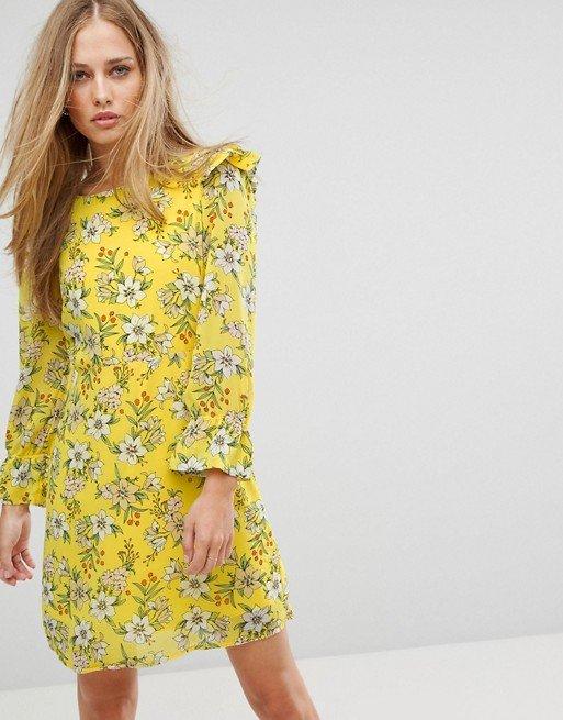 robe jaune fleurs asos