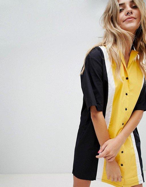 robe jaune rayures asos