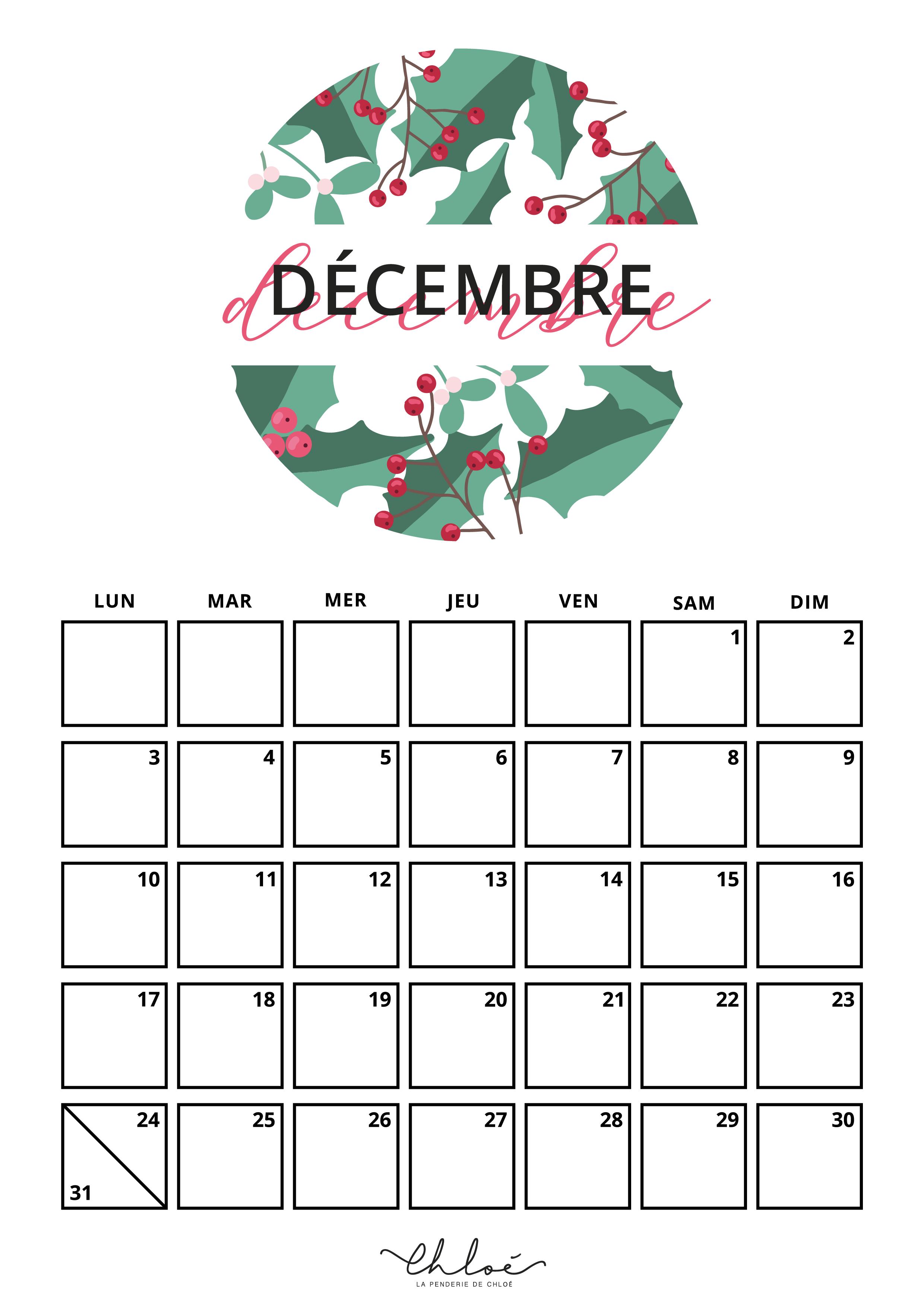 Calendrier Décembre à imprimer
