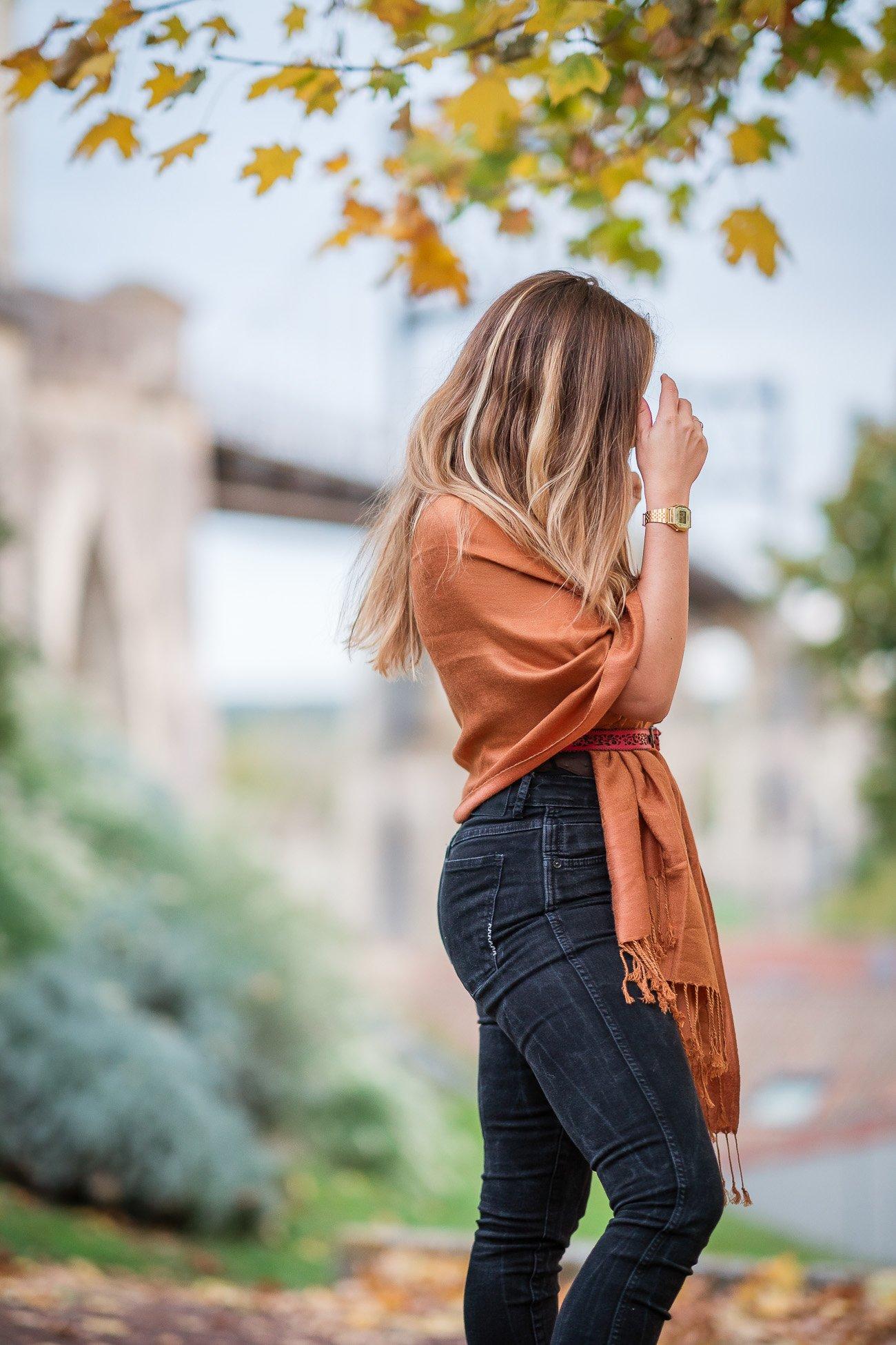 écharpe cuivre automne ceinture