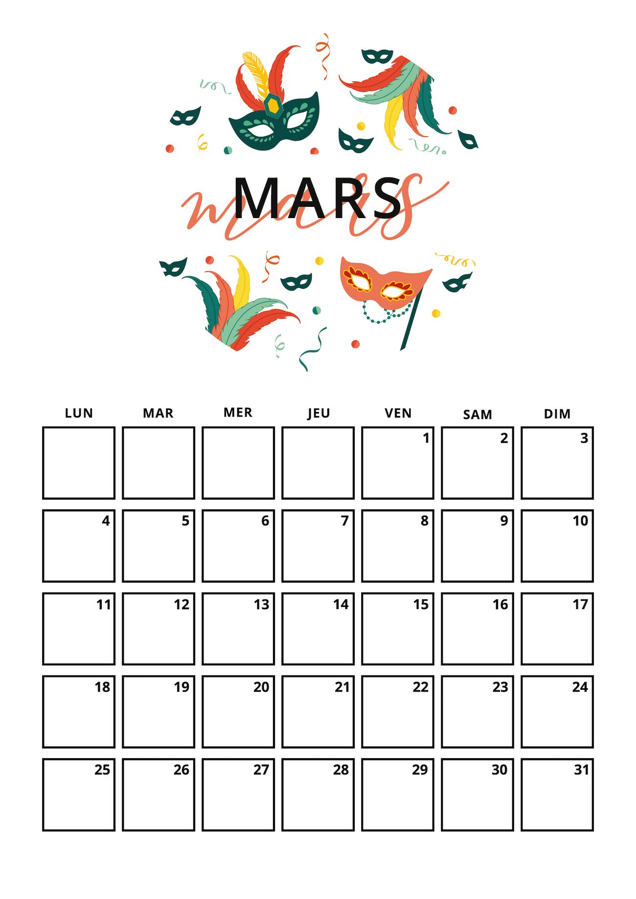 Calendrier Mars Kit A Imprimer La Penderie De Chloe