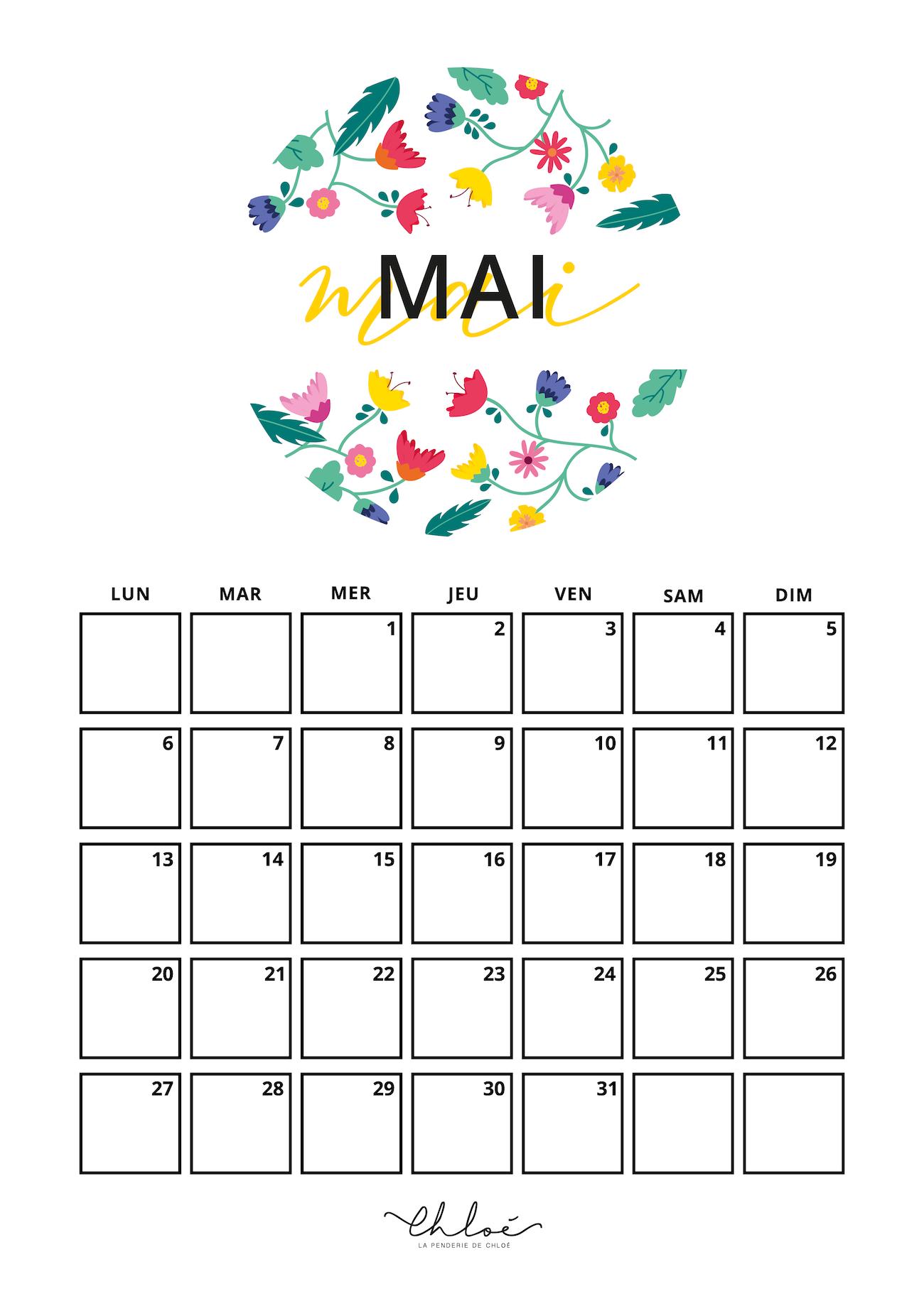 Calendrier Mai 2019 A Imprimer Gratuit.Calendrier Mai A Imprimer Printables La Penderie De Chloe