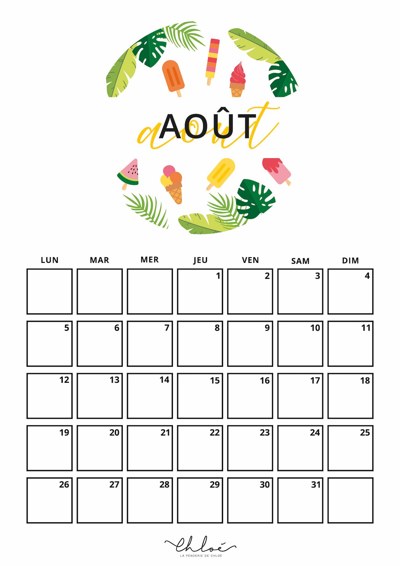 Calendrier Mois Aout 2019.Calendrier Aout Kit A Imprimer La Penderie De Chloe
