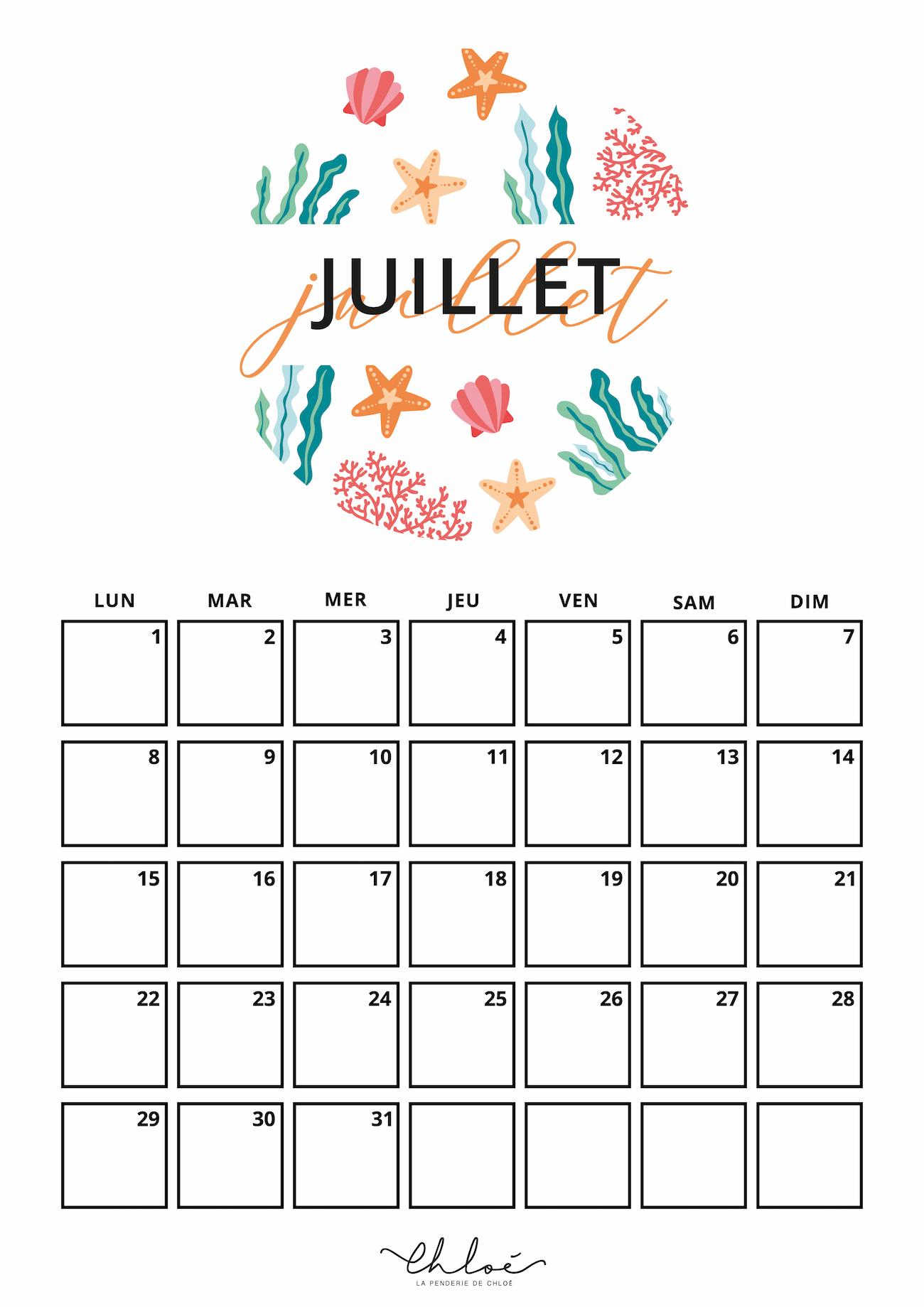 Calendrier A Imprimer Juillet 2019.Calendrier Juillet Kit A Imprimer Blog Lifestyle La