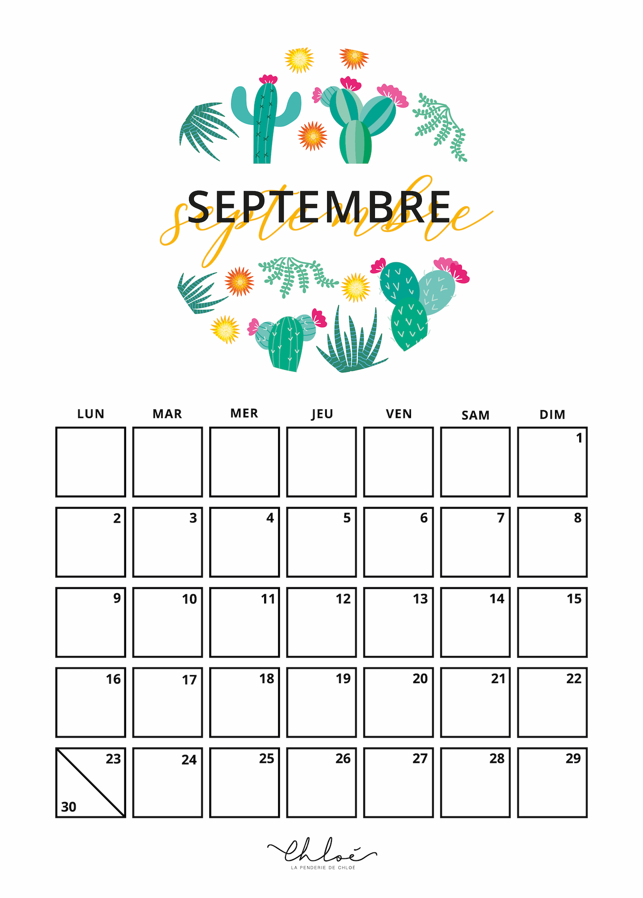 Calendrier Mois De Septembre.Calendrier Septembre Kit A Imprimer Lifestyle La