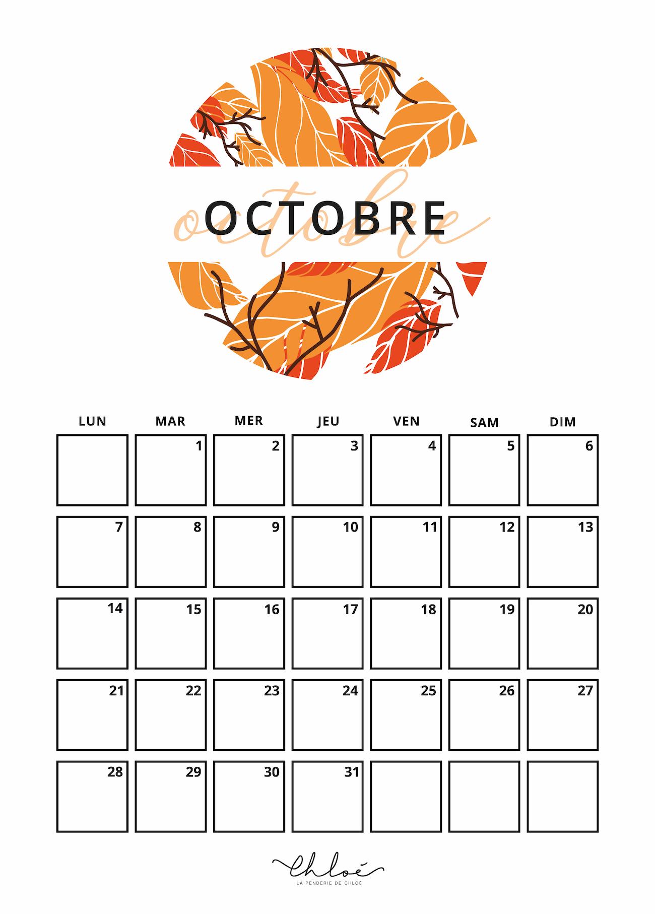 Octobre Calendrier 2019.Calendriers A Imprimer Blog Lifestyle Graphisme La