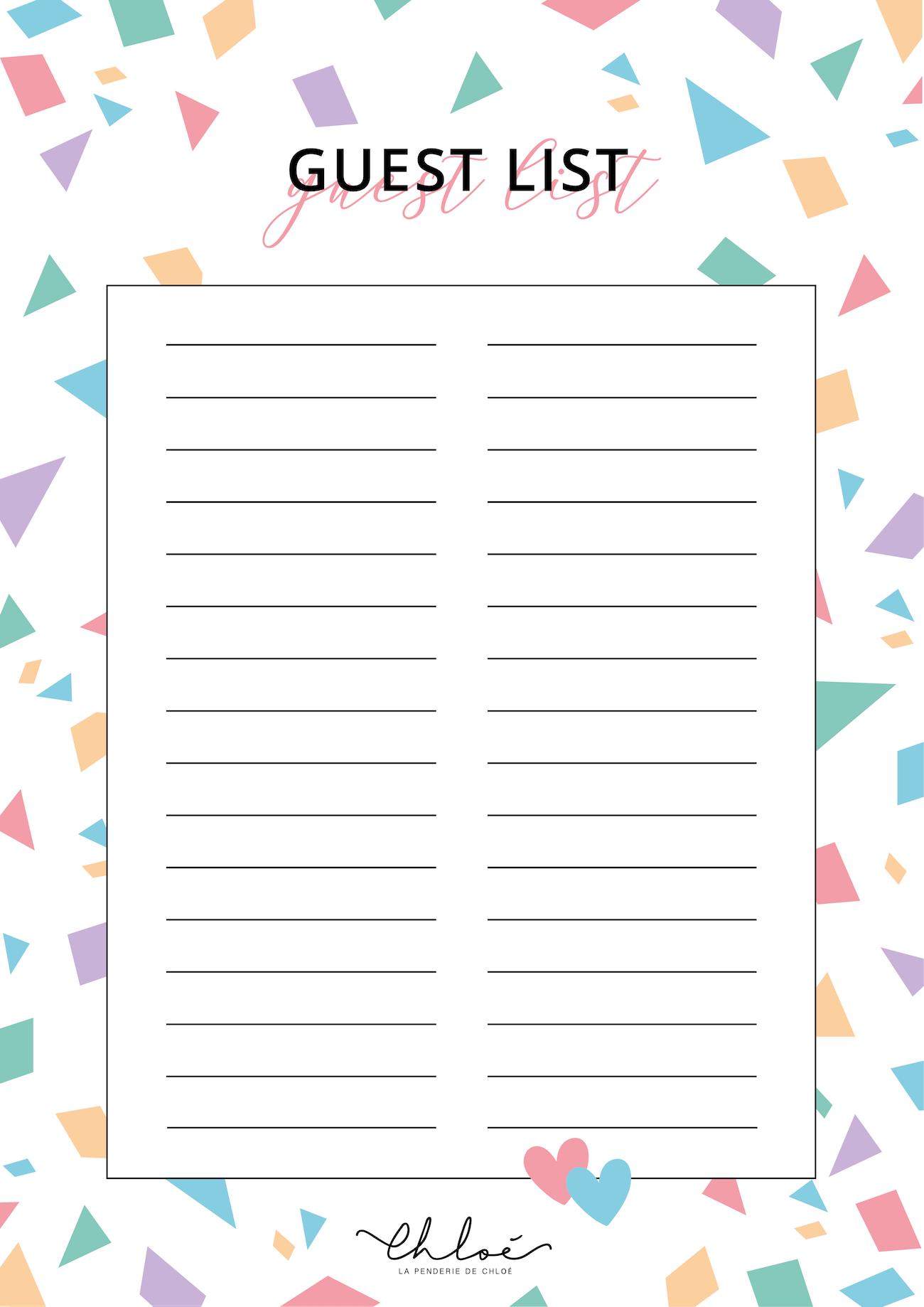 guest list printable anniversaire